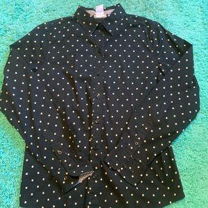 Men's Black Dress Shirt Off-White Polka Dots